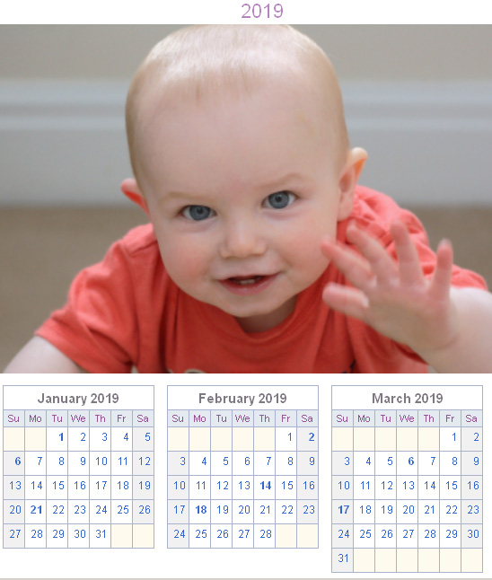 Calendar Generator - Yearly Calendar with Uploaded Photo